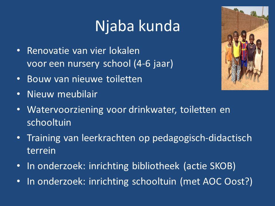Njaba kunda Renovatie van vier lokalen voor een nursery school (4-6 jaar) Bouw van nieuwe toiletten Nieuw meubilair Watervoorziening voor drinkwater, toiletten en schooltuin Training van leerkrachten op pedagogisch-didactisch terrein In onderzoek: inrichting bibliotheek (actie SKOB) In onderzoek: inrichting schooltuin (met AOC Oost )