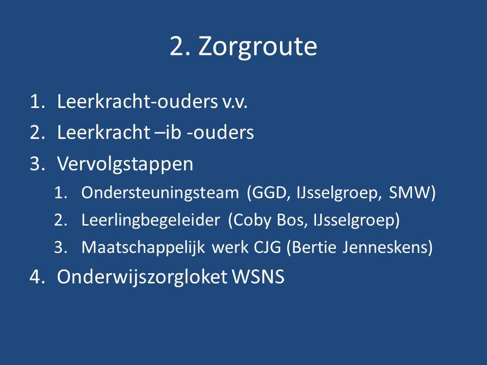 2. Zorgroute 1.Leerkracht-ouders v.v.