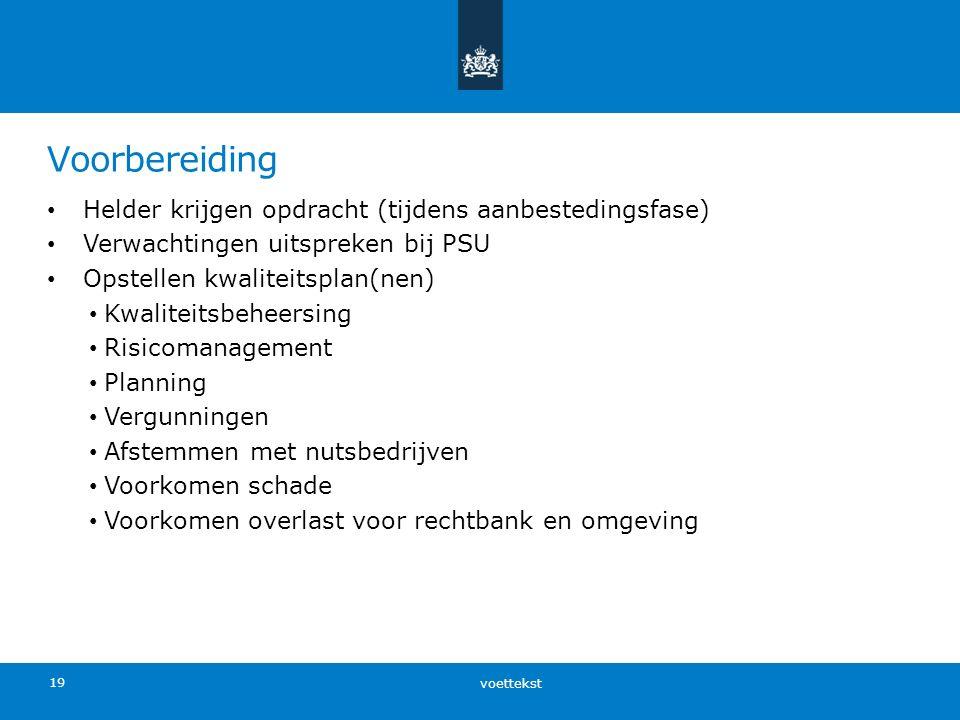 Voorbereiding Helder krijgen opdracht (tijdens aanbestedingsfase) Verwachtingen uitspreken bij PSU Opstellen kwaliteitsplan(nen) Kwaliteitsbeheersing