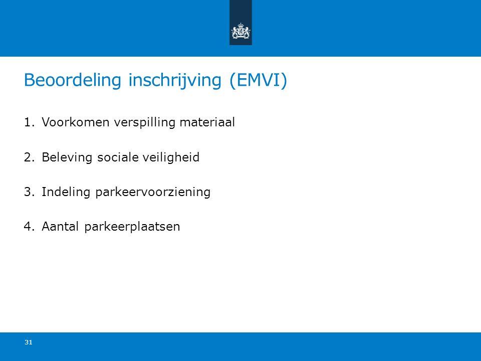 Beoordeling inschrijving (EMVI) 1.Voorkomen verspilling materiaal 2.Beleving sociale veiligheid 3.Indeling parkeervoorziening 4.Aantal parkeerplaatsen