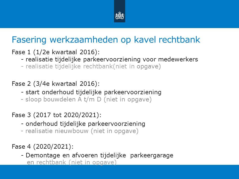 Fasering werkzaamheden op kavel rechtbank Fase 1 (1/2e kwartaal 2016): - realisatie tijdelijke parkeervoorziening voor medewerkers - realisatie tijdel