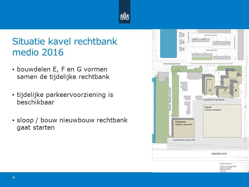 Situatie kavel rechtbank medio 2016 bouwdelen E, F en G vormen samen de tijdelijke rechtbank tijdelijke parkeervoorziening is beschikbaar sloop / bouw