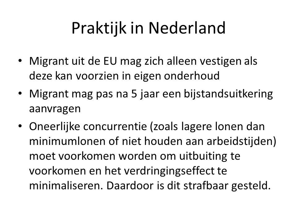 Praktijk in Nederland Migrant uit de EU mag zich alleen vestigen als deze kan voorzien in eigen onderhoud Migrant mag pas na 5 jaar een bijstandsuitkering aanvragen Oneerlijke concurrentie (zoals lagere lonen dan minimumlonen of niet houden aan arbeidstijden) moet voorkomen worden om uitbuiting te voorkomen en het verdringingseffect te minimaliseren.