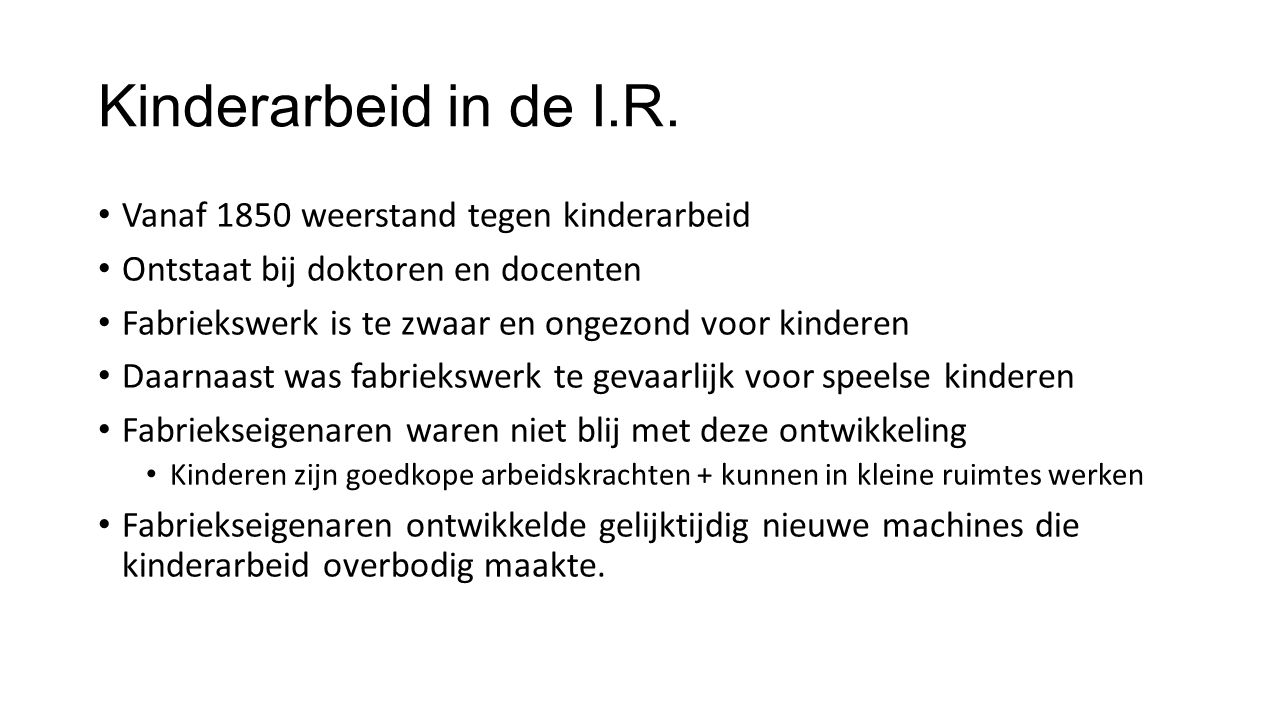 Kinderarbeid in de I.R.