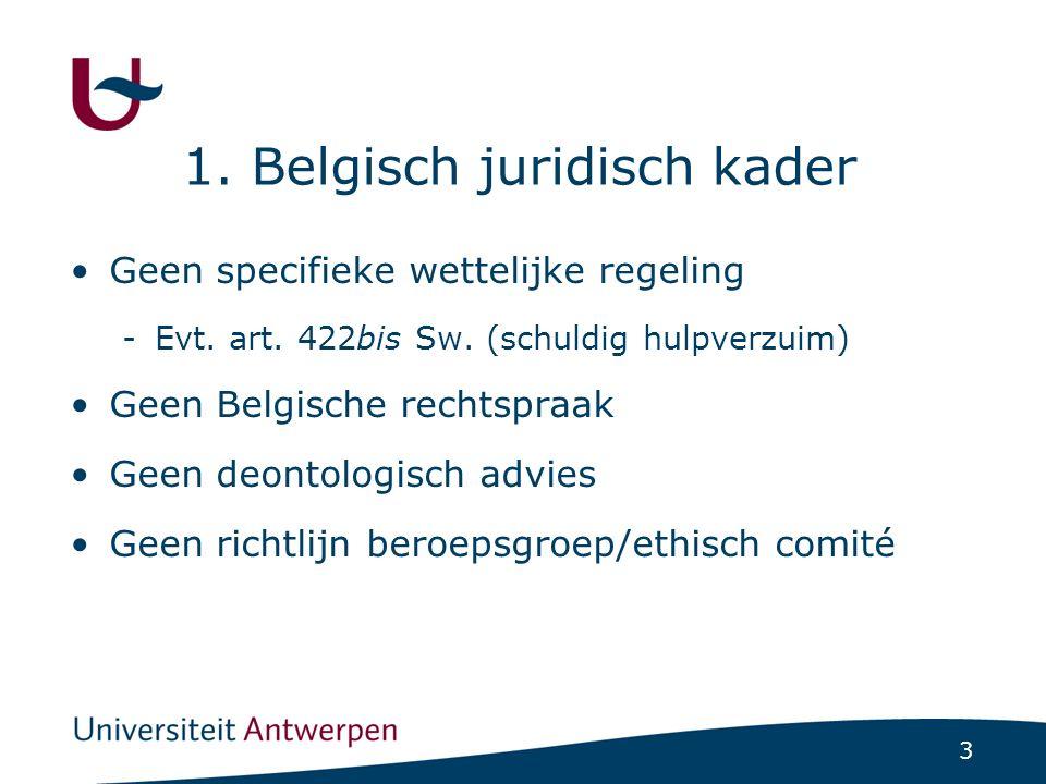 3 1. Belgisch juridisch kader Geen specifieke wettelijke regeling -Evt.