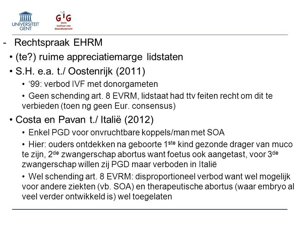 -Rechtspraak EHRM (te ) ruime appreciatiemarge lidstaten S.H.