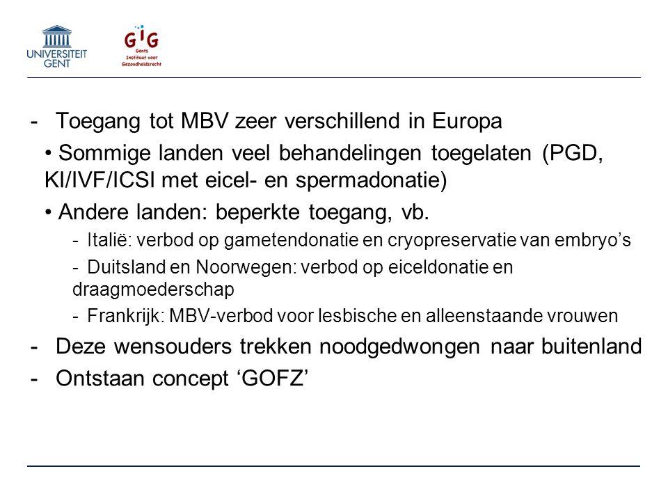 -Toegang tot MBV zeer verschillend in Europa Sommige landen veel behandelingen toegelaten (PGD, KI/IVF/ICSI met eicel- en spermadonatie) Andere landen: beperkte toegang, vb.