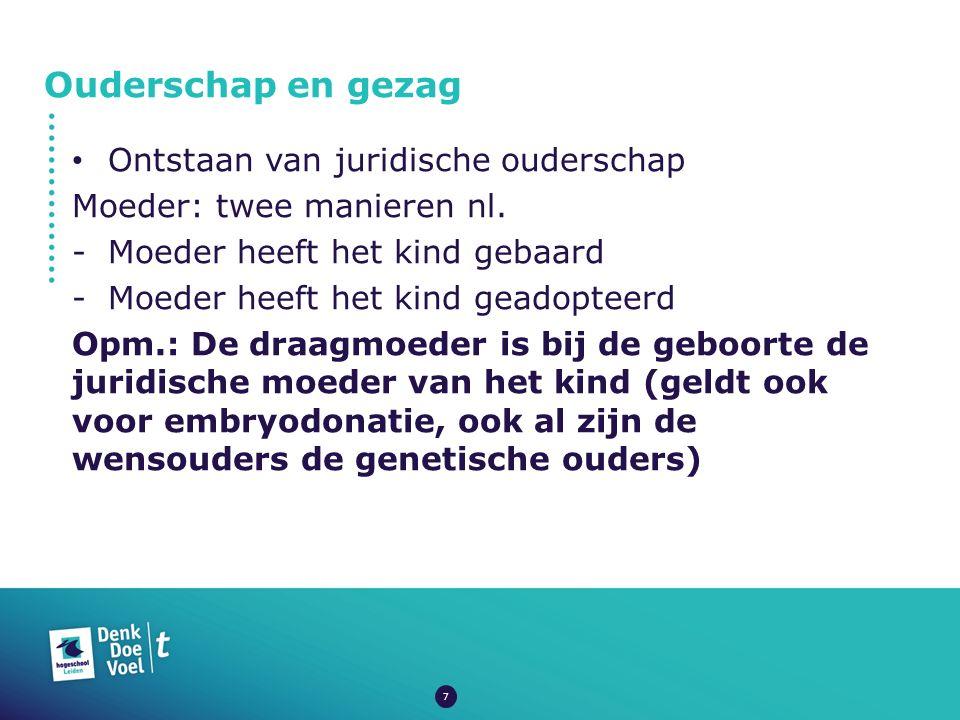 Ouderschap en gezag Ontstaan van juridische ouderschap Moeder: twee manieren nl.