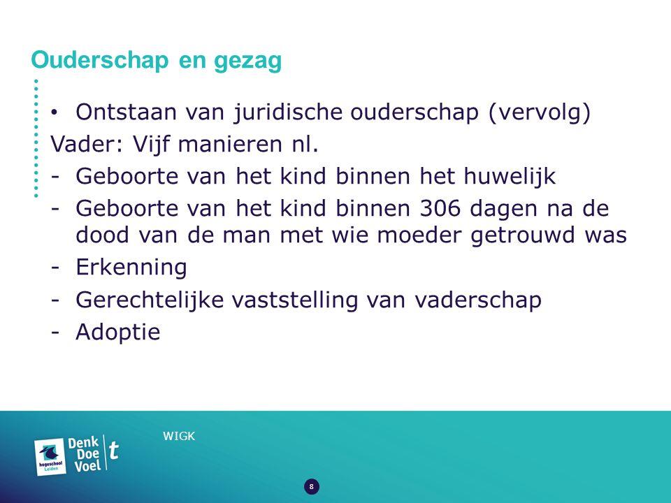 Ouderschap en gezag WIGK Ontstaan van juridische ouderschap (vervolg) Vader: Vijf manieren nl.
