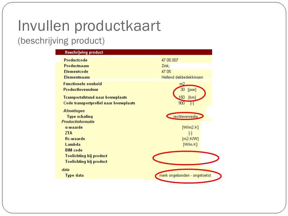 Invullen productkaart (beschrijving product)