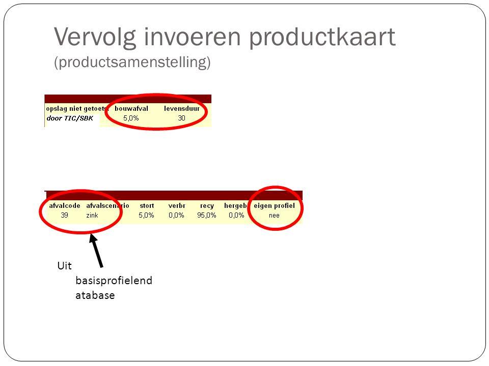 Vervolg invoeren productkaart (productsamenstelling) Uit basisprofielend atabase