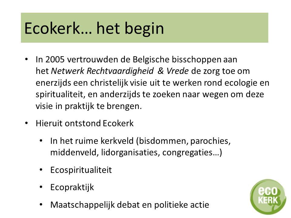 Ecokerk… het begin In 2005 vertrouwden de Belgische bisschoppen aan het Netwerk Rechtvaardigheid & Vrede de zorg toe om enerzijds een christelijk visie uit te werken rond ecologie en spiritualiteit, en anderzijds te zoeken naar wegen om deze visie in praktijk te brengen.