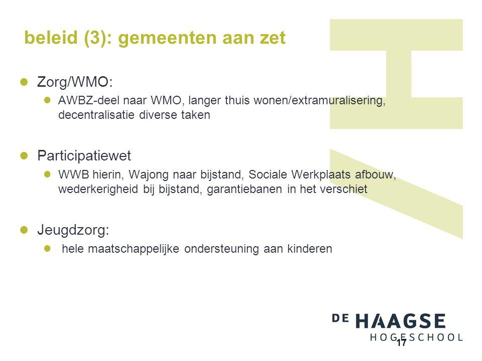 beleid (3): gemeenten aan zet Zorg/WMO: AWBZ-deel naar WMO, langer thuis wonen/extramuralisering, decentralisatie diverse taken Participatiewet WWB hi