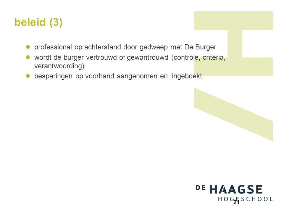 beleid (3) professional op achterstand door gedweep met De Burger wordt de burger vertrouwd of gewantrouwd (controle, criteria, verantwoording) bespar