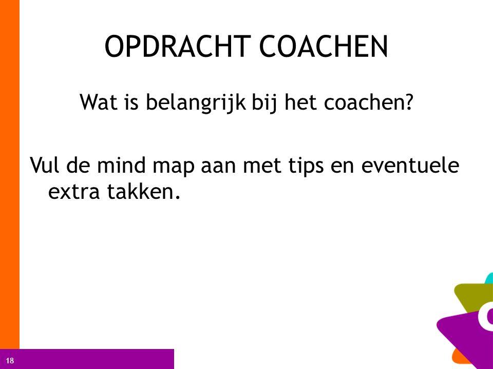 18 OPDRACHT COACHEN Wat is belangrijk bij het coachen? Vul de mind map aan met tips en eventuele extra takken.