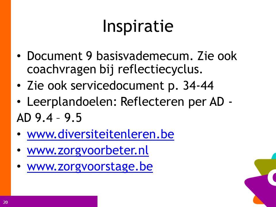 20 Inspiratie Document 9 basisvademecum. Zie ook coachvragen bij reflectiecyclus. Zie ook servicedocument p. 34-44 Leerplandoelen: Reflecteren per AD