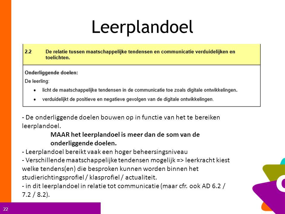 22 Leerplandoel - De onderliggende doelen bouwen op in functie van het te bereiken leerplandoel.