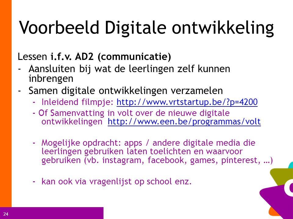 24 Voorbeeld Digitale ontwikkeling Lessen i.f.v. AD2 (communicatie) -Aansluiten bij wat de leerlingen zelf kunnen inbrengen -Samen digitale ontwikkeli