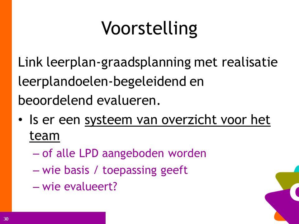 30 Voorstelling Link leerplan-graadsplanning met realisatie leerplandoelen-begeleidend en beoordelend evalueren. Is er een systeem van overzicht voor