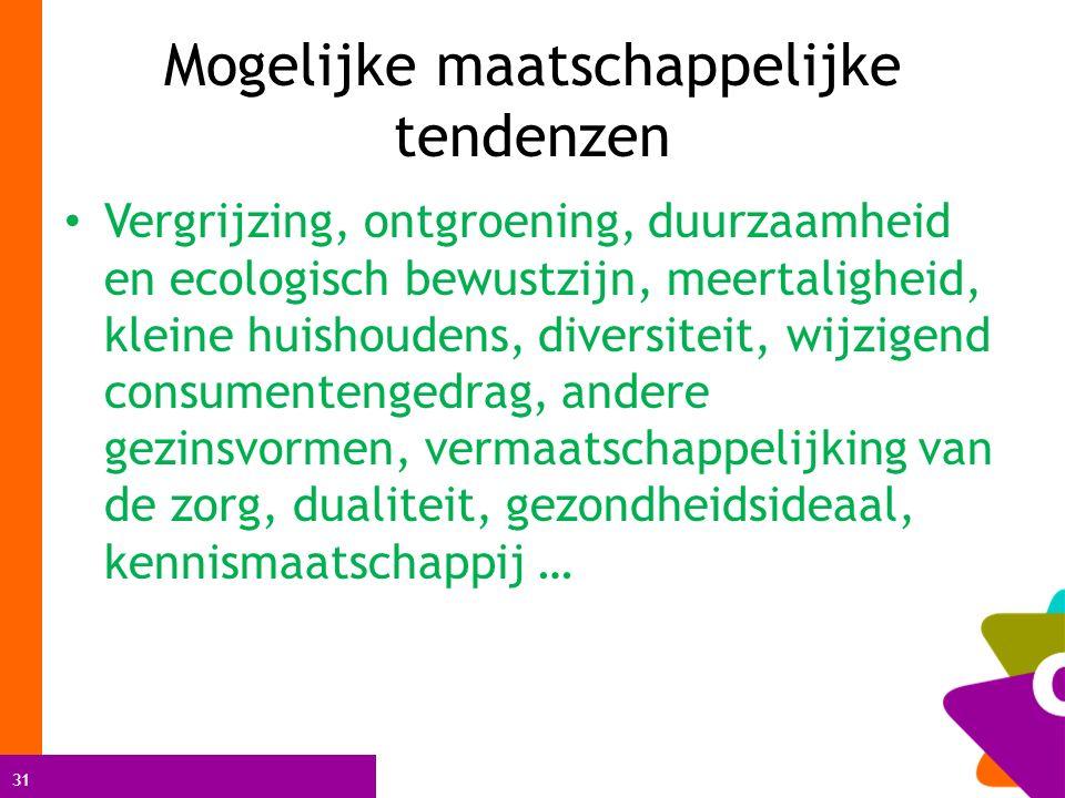 31 Mogelijke maatschappelijke tendenzen Vergrijzing, ontgroening, duurzaamheid en ecologisch bewustzijn, meertaligheid, kleine huishoudens, diversitei