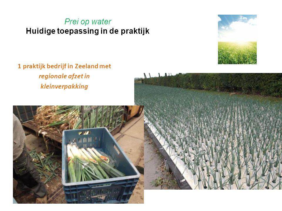 Prei op water Huidige toepassing in de praktijk 1 praktijk bedrijf in Zeeland met regionale afzet in kleinverpakking