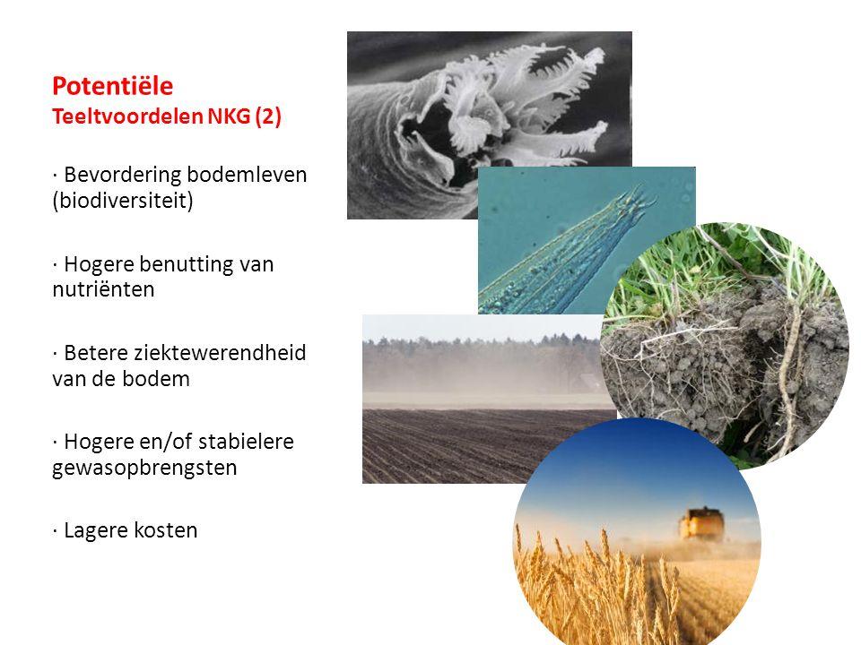 Potentiële Teeltvoordelen NKG (2) · Bevordering bodemleven (biodiversiteit) · Hogere benutting van nutriënten · Betere ziektewerendheid van de bodem · Hogere en/of stabielere gewasopbrengsten · Lagere kosten