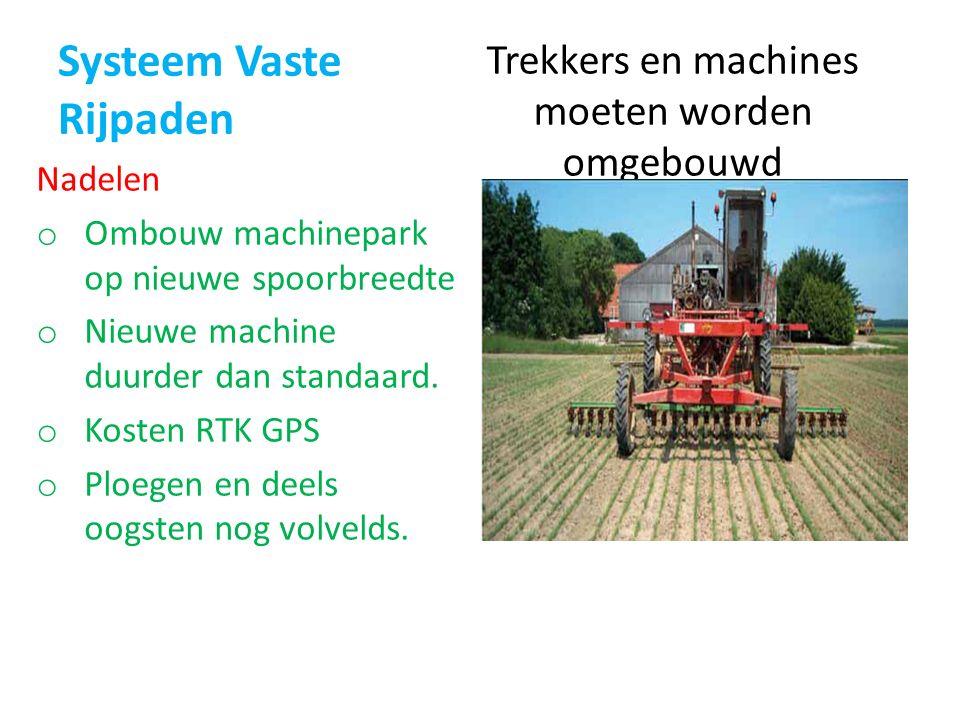 Systeem Vaste Rijpaden Trekkers en machines moeten worden omgebouwd Nadelen o Ombouw machinepark op nieuwe spoorbreedte o Nieuwe machine duurder dan standaard.