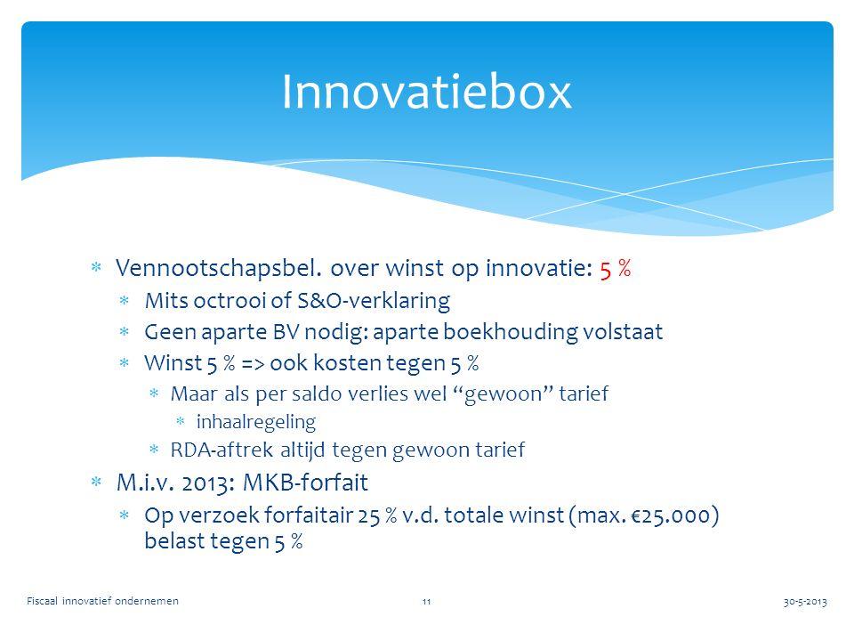  Vennootschapsbel. over winst op innovatie: 5 %  Mits octrooi of S&O-verklaring  Geen aparte BV nodig: aparte boekhouding volstaat  Winst 5 % => o