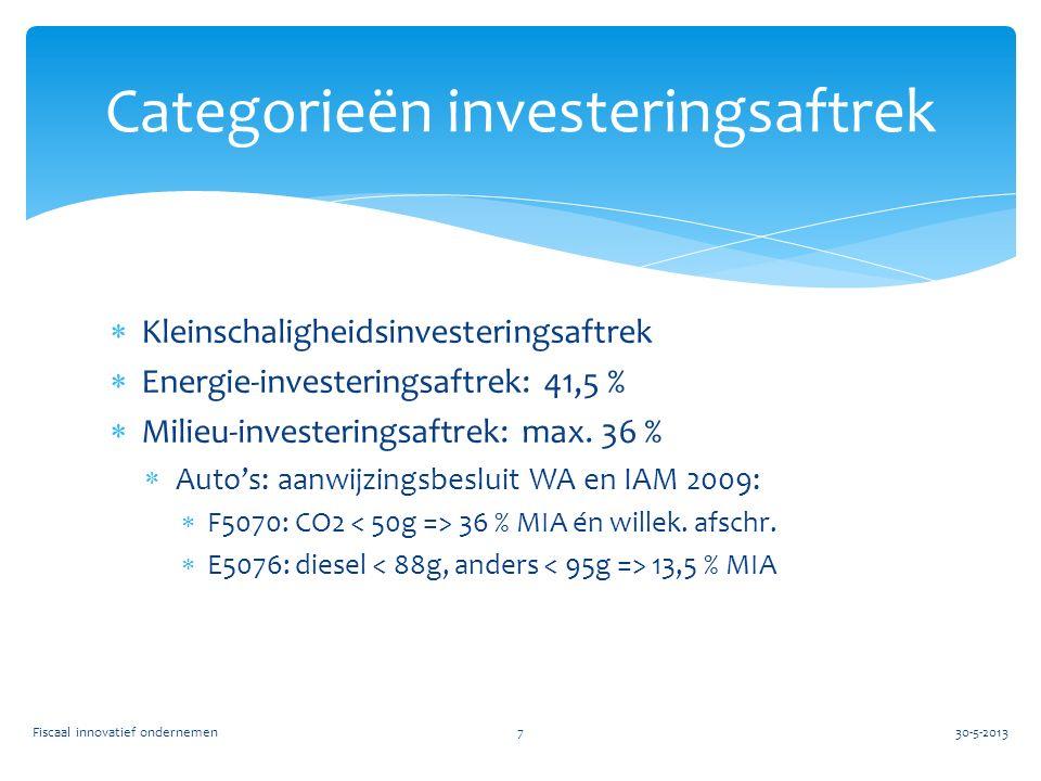  Kleinschaligheidsinvesteringsaftrek  Energie-investeringsaftrek: 41,5 %  Milieu-investeringsaftrek: max. 36 %  Auto's: aanwijzingsbesluit WA en I