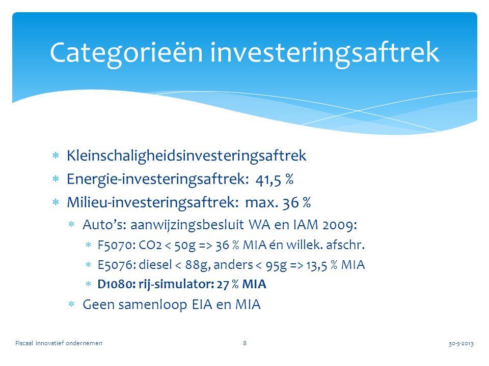  Kleinschaligheidsinvesteringsaftrek  Energie-investeringsaftrek: 41,5 %  Milieu-investeringsaftrek: max.