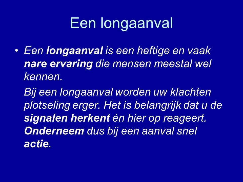 Een longaanval Een longaanval is een heftige en vaak nare ervaring die mensen meestal wel kennen.