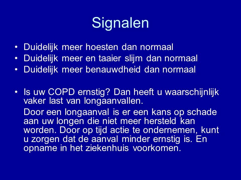 Signalen Duidelijk meer hoesten dan normaal Duidelijk meer en taaier slijm dan normaal Duidelijk meer benauwdheid dan normaal Is uw COPD ernstig.