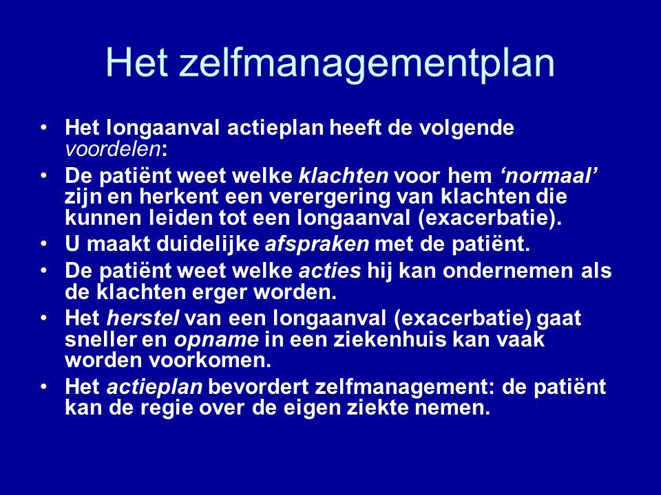 Het zelfmanagementplan Het longaanval actieplan heeft de volgende voordelen: De patiënt weet welke klachten voor hem 'normaal' zijn en herkent een verergering van klachten die kunnen leiden tot een longaanval (exacerbatie).