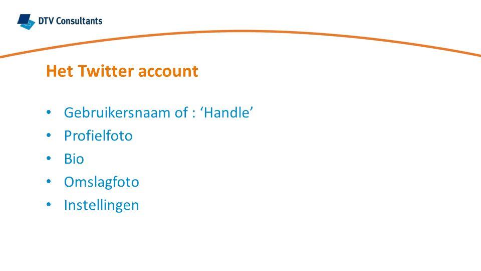 Gebruikersnaam of : 'Handle' Profielfoto Bio Omslagfoto Instellingen