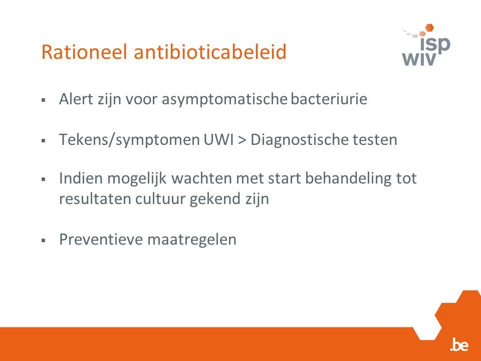 Rationeel antibioticabeleid  Alert zijn voor asymptomatische bacteriurie  Tekens/symptomen UWI > Diagnostische testen  Indien mogelijk wachten met start behandeling tot resultaten cultuur gekend zijn  Preventieve maatregelen