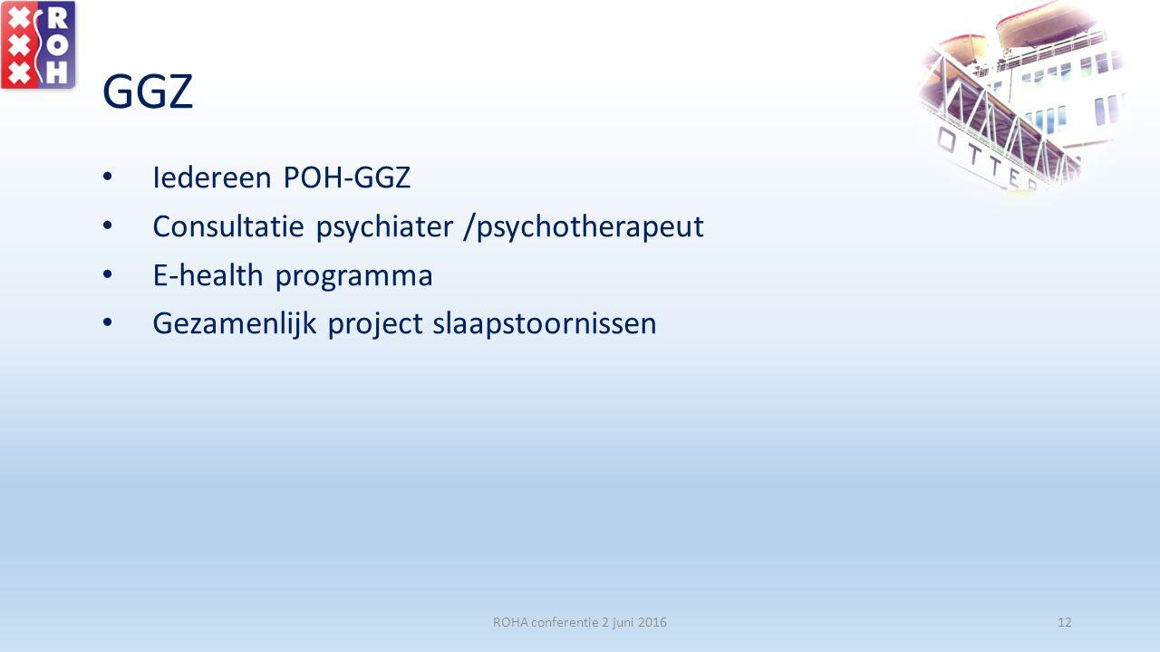 GGZ Iedereen POH-GGZ Consultatie psychiater /psychotherapeut E-health programma Gezamenlijk project slaapstoornissen ROHA conferentie 2 juni 201612