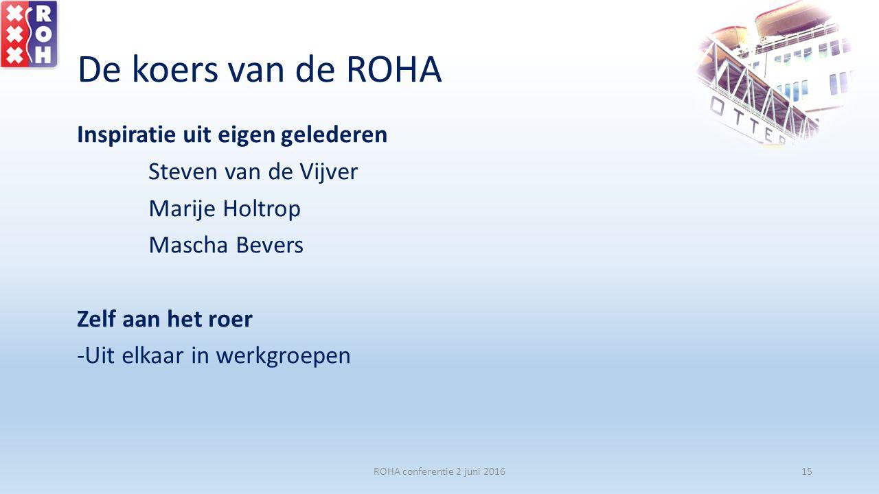 De koers van de ROHA Inspiratie uit eigen gelederen Steven van de Vijver Marije Holtrop Mascha Bevers Zelf aan het roer -Uit elkaar in werkgroepen ROH