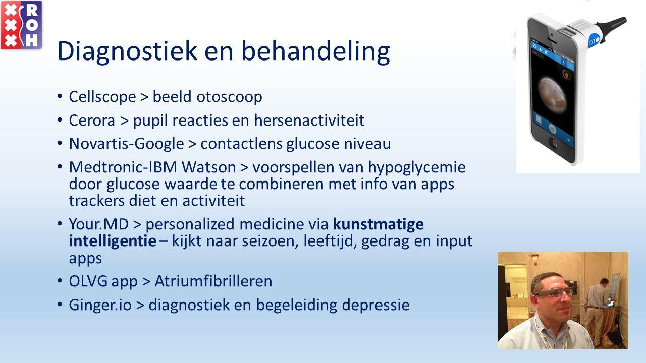 Diagnostiek en behandeling Cellscope > beeld otoscoop Cerora > pupil reacties en hersenactiviteit Novartis-Google > contactlens glucose niveau Medtron