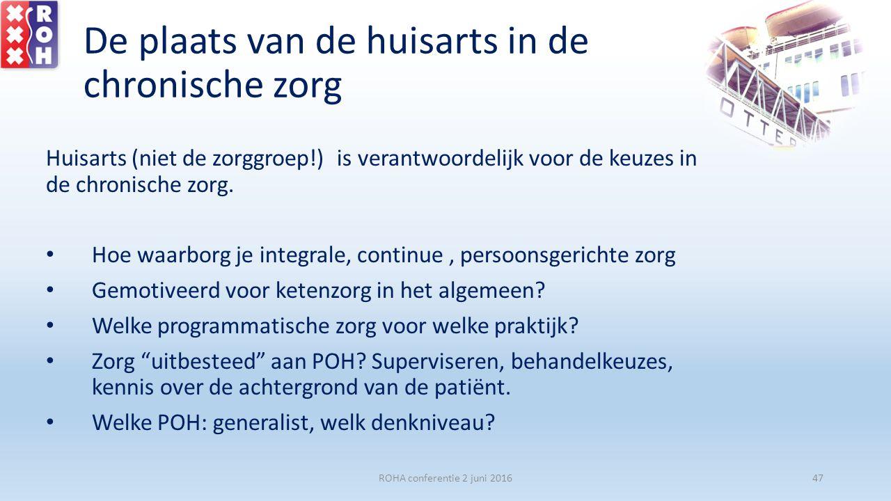 De plaats van de huisarts in de chronische zorg Huisarts (niet de zorggroep!) is verantwoordelijk voor de keuzes in de chronische zorg. Hoe waarborg j