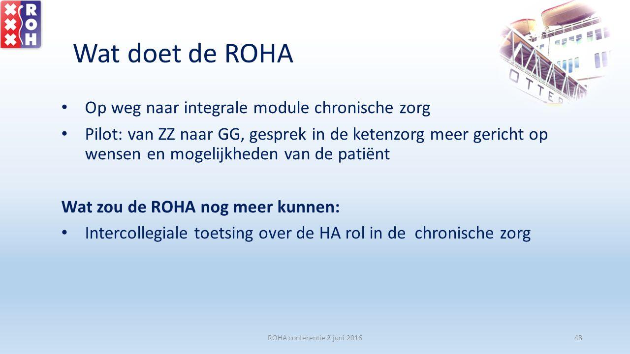 Wat doet de ROHA Op weg naar integrale module chronische zorg Pilot: van ZZ naar GG, gesprek in de ketenzorg meer gericht op wensen en mogelijkheden van de patiënt Wat zou de ROHA nog meer kunnen: Intercollegiale toetsing over de HA rol in de chronische zorg ROHA conferentie 2 juni 201648