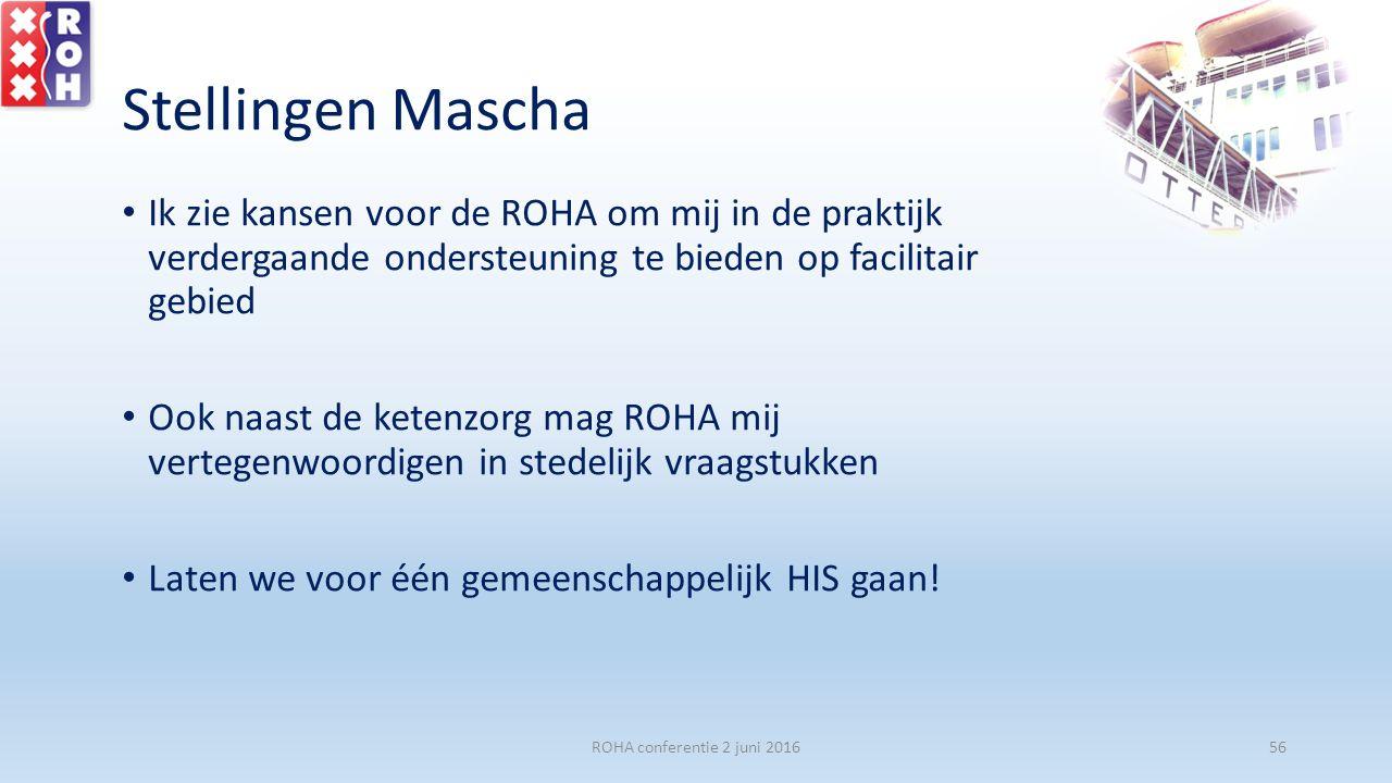 Stellingen Mascha Ik zie kansen voor de ROHA om mij in de praktijk verdergaande ondersteuning te bieden op facilitair gebied Ook naast de ketenzorg ma