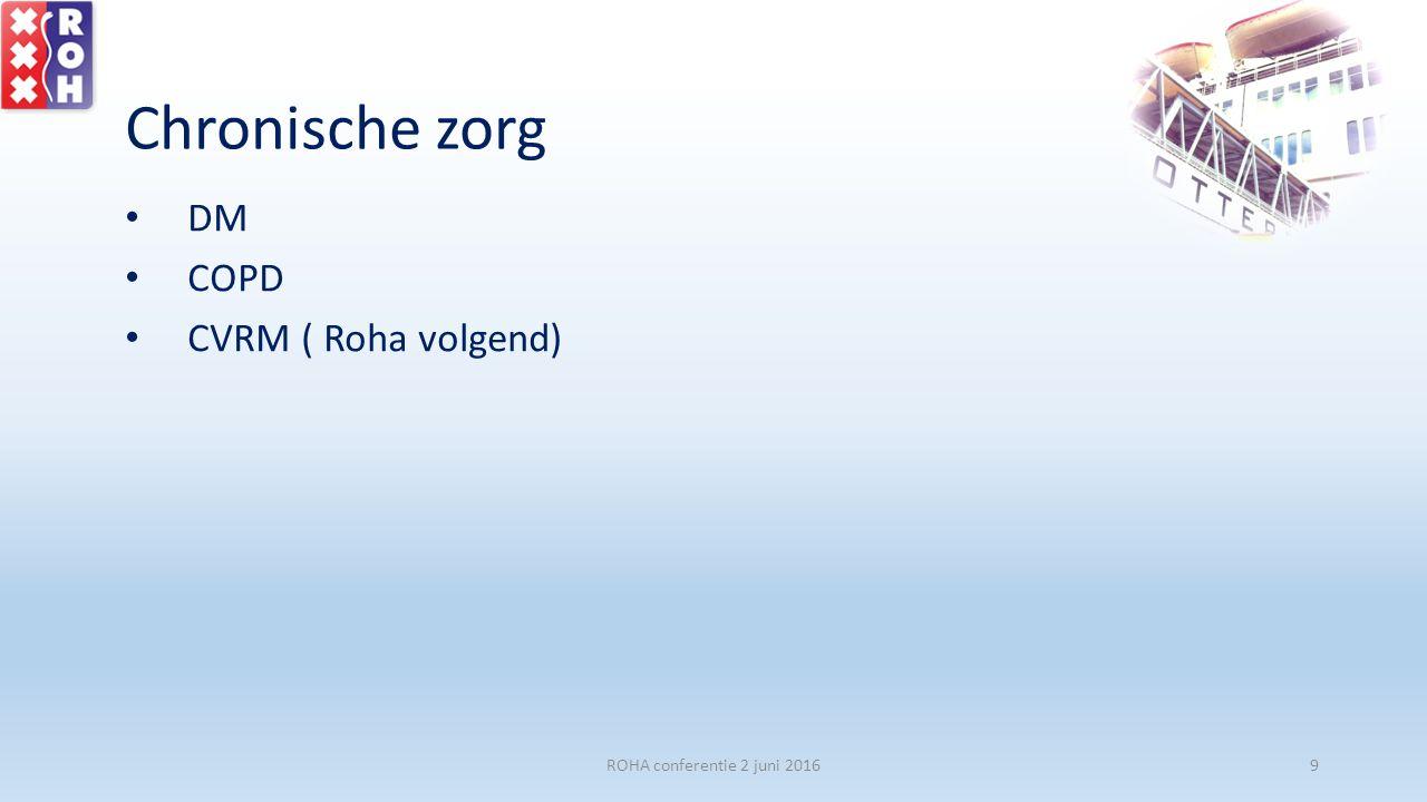 kernwaarde 1: patiënt centraal -Maatwerk, zorg die rekening houdt met mogelijkheden, wensen, beperkingen -Dokter en patiënt samen verantwoordelijk voor optimale zorg ROHA conferentie 2 juni 201640