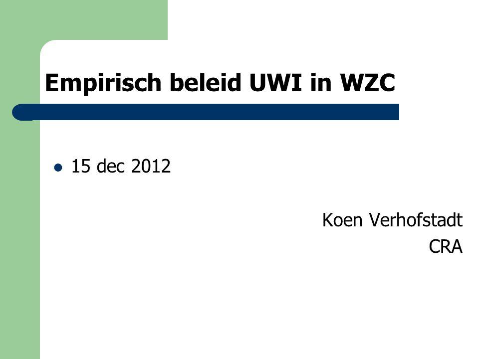 Empirisch beleid UWI in WZC 15 dec 2012 Koen Verhofstadt CRA