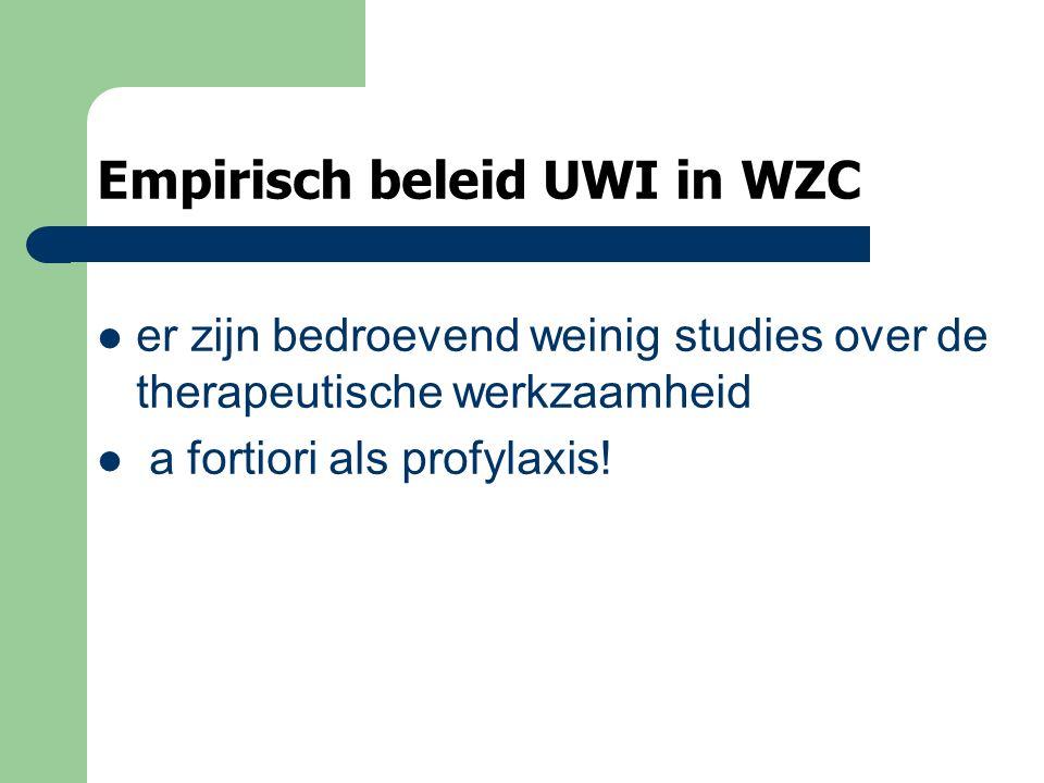 Empirisch beleid UWI in WZC er zijn bedroevend weinig studies over de therapeutische werkzaamheid a fortiori als profylaxis!