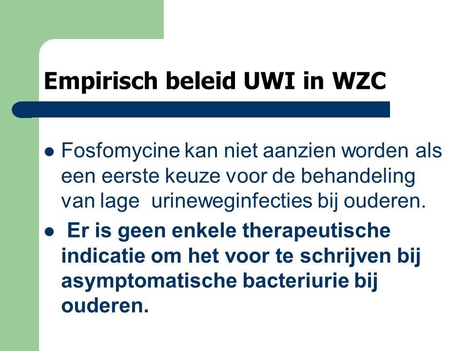 Empirisch beleid UWI in WZC Fosfomycine kan niet aanzien worden als een eerste keuze voor de behandeling van lage urineweginfecties bij ouderen. Er is