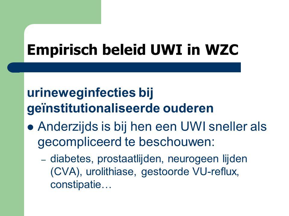 Empirisch beleid UWI in WZC urineweginfecties bij geïnstitutionaliseerde ouderen Anderzijds is bij hen een UWI sneller als gecompliceerd te beschouwen: – diabetes, prostaatlijden, neurogeen lijden (CVA), urolithiase, gestoorde VU-reflux, constipatie…
