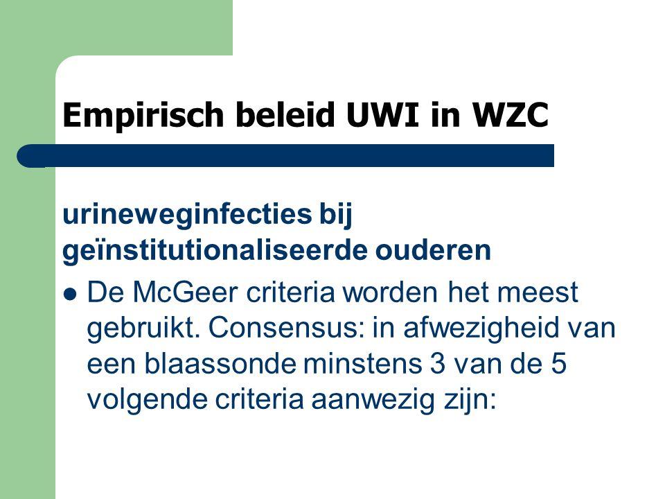 Empirisch beleid UWI in WZC urineweginfecties bij geïnstitutionaliseerde ouderen De McGeer criteria worden het meest gebruikt. Consensus: in afwezighe