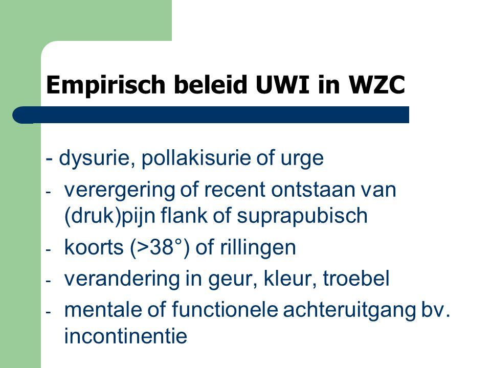 Empirisch beleid UWI in WZC - dysurie, pollakisurie of urge - verergering of recent ontstaan van (druk)pijn flank of suprapubisch - koorts (>38°) of rillingen - verandering in geur, kleur, troebel - mentale of functionele achteruitgang bv.