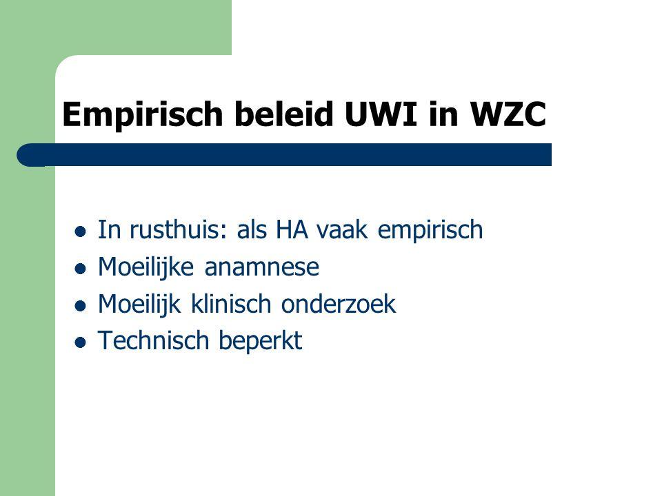 Empirisch beleid UWI in WZC In rusthuis: als HA vaak empirisch Moeilijke anamnese Moeilijk klinisch onderzoek Technisch beperkt
