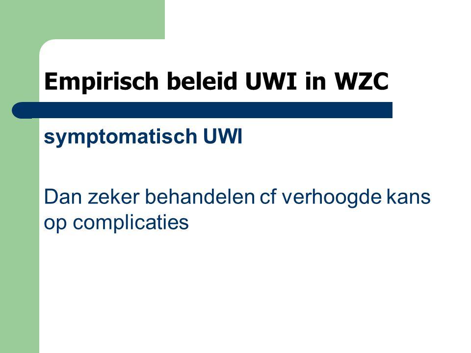 Empirisch beleid UWI in WZC symptomatisch UWI Dan zeker behandelen cf verhoogde kans op complicaties